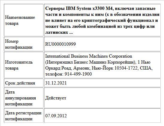 Серверы IBM System x3300 M4, включая запасные части и компоненты к ним (x в обозначении изделия не влияет на его криптографический функционал и может быть любой комбинацией из трех цифр или латинских ...