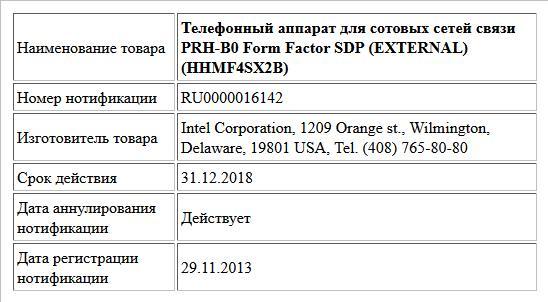 Телефонный аппарат для сотовых сетей связи PRH-B0 Form Factor SDP (EXTERNAL) (HHMF4SX2B)