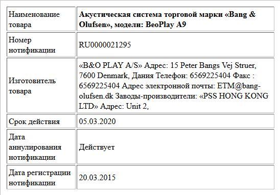 Акустическая система торговой марки «Bang & Olufsen», модели: BeoPlay A9