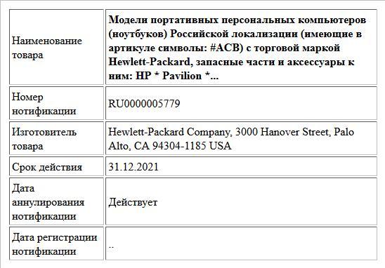 Модели портативных персональных компьютеров (ноутбуков) Российской локализации (имеющие в артикуле символы: #ACB) с торговой маркой Hewlett-Packard, запасные части и аксессуары к ним: HP * Pavilion *...