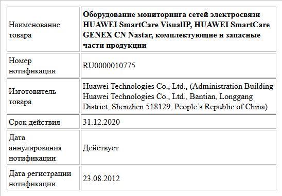 Оборудование мониторинга сетей  электросвязи HUAWEI SmartCare VisualIP, HUAWEI SmartCare GENEX CN Nastar, комплектующие и запасные части продукции