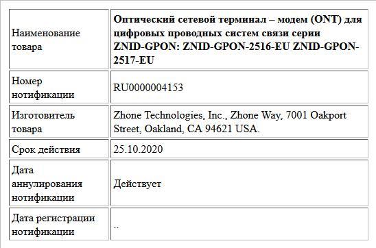 Оптический сетевой терминал – модем (ONT) для  цифровых проводных систем связи серии ZNID-GPON:  ZNID-GPON-2516-EU ZNID-GPON-2517-EU