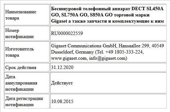 Бесшнуровой телефонный аппарат DECT SL450A GO, SL750A GO, S850A GO торговой марки Gigaset а также запчасти и комплектующие к ним