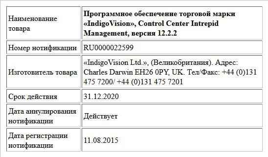 Программное обеспечение торговой марки «IndigoVision», Control Center Intrepid Management, версия 12.2.2