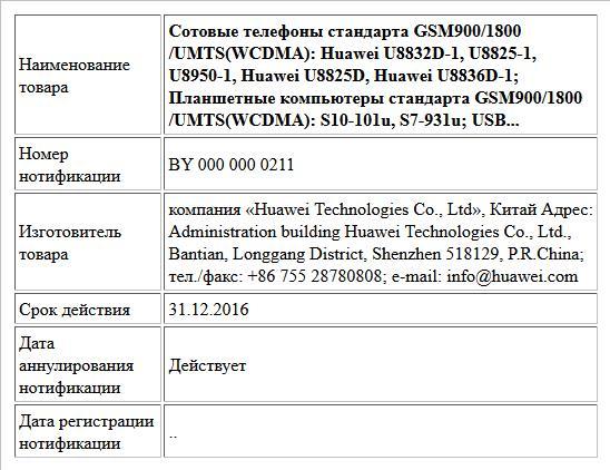 Сотовые телефоны стандарта GSM900/1800/UMTS(WCDMA): Huawei U8832D-1, U8825-1, U8950-1, Huawei U8825D, Huawei U8836D-1; Планшетные компьютеры стандарта GSM900/1800/UMTS(WCDMA): S10-101u, S7-931u; USB...