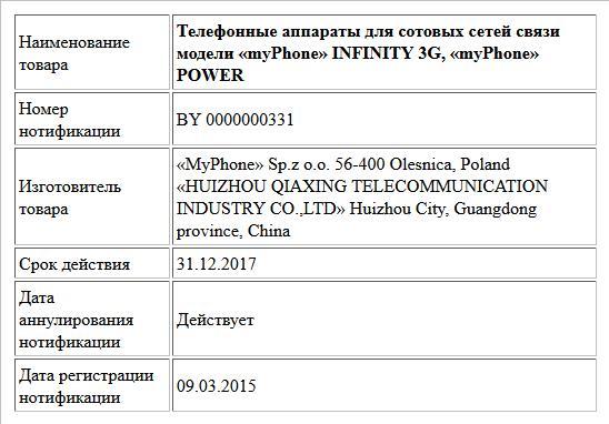 Телефонные аппараты для сотовых сетей связи модели «myPhone» INFINITY 3G, «myPhone» POWER