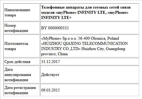 Телефонные аппараты для сотовых сетей связи модели «myPhone» INFINITY LTE, «myPhone» INFINITY LTE+