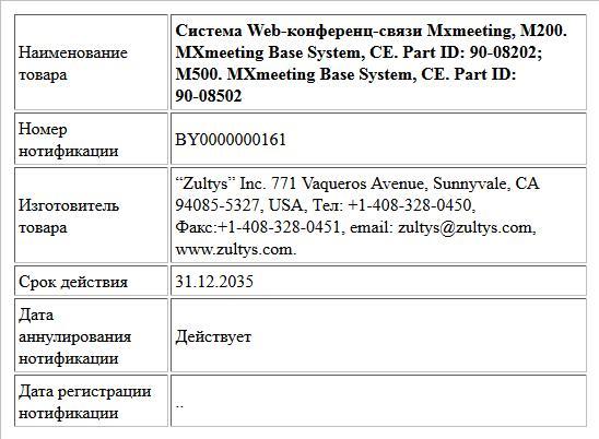 Система Web-конференц-связи Mxmeeting, M200. MXmeeting Base System, CE. Part ID: 90-08202; M500. MXmeeting Base System, CE. Part ID: 90-08502