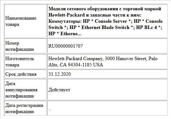 Модели сетевого оборудования с торговой маркой Hewlett-Packard и запасные части к ним: Коммутаторы: HP * Console Server *; HP * Console Switch *; HP * Ethernet Blade Switch *; HP BLc 4 *; HP * Etherne...