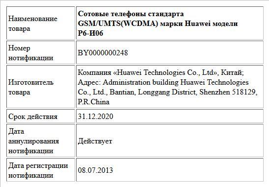 Сотовые телефоны стандарта GSM/UMTS(WCDMA) марки Huawei модели Р6-И06