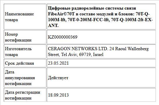 Цифровые радиорелейные системы связи FibeAir©70T в составе модулей и блоков: 70T-Q-100M-lft, 70T-0-200M-FCC-lft, 70T-Q-100M-2ft-EX- ANT.