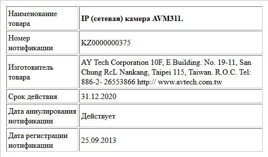 IP (сетевая) камера AVM311.