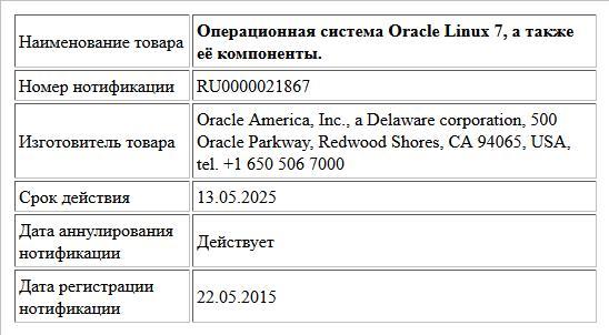 Операционная система Oracle Linux 7, а также её компоненты.