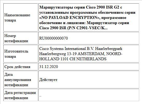 Маршрутизаторы серии Cisco 2900 ISR G2 с установленным программным обеспечением серии «NO PAYLOAD ENCRYPTION», программное обеспечение и лицензии: Маршрутизатор серии Cisco 2900 ISR (P/N C2901-VSEC/K...