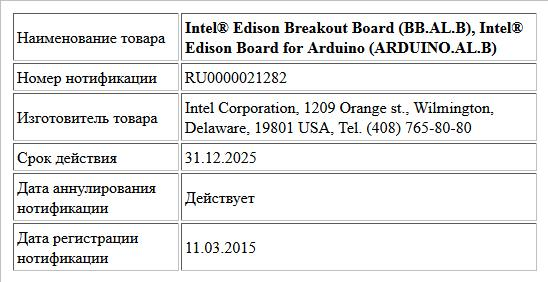 Intel® Edison Breakout Board (BB.AL.B), Intel® Edison Board for Arduino (ARDUINO.AL.B)