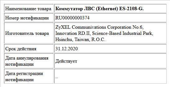 Коммутатор ЛВС (Ethernet) ES-2108-G.