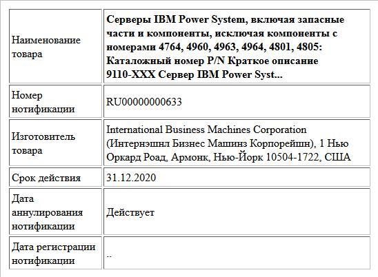 Серверы IBM Power System, включая запасные части и компоненты, исключая компоненты с номерами 4764, 4960, 4963, 4964, 4801, 4805: Каталожный номер P/N Краткое описание 9110-XXX Сервер IBM Power Syst...