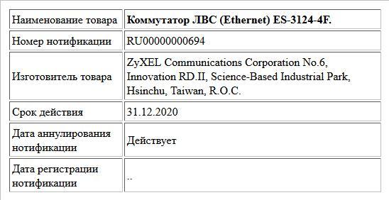 Коммутатор ЛВС (Ethernet) ES-3124-4F.