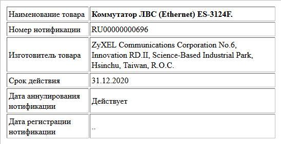 Коммутатор ЛВС (Ethernet) ES-3124F.