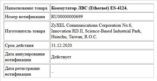 Коммутатор ЛВС (Ethernet) ES-4124.