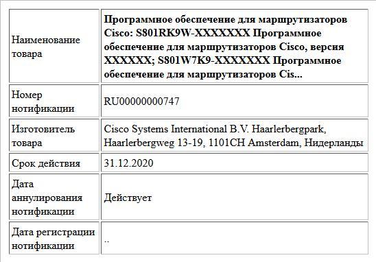 Программное обеспечение для маршрутизаторов Cisco: S801RK9W-XXXXXXX Программное обеспечение для маршрутизаторов Cisco, версия XXXXXX; S801W7K9-XXXXXXX Программное обеспечение для маршрутизаторов Cis...