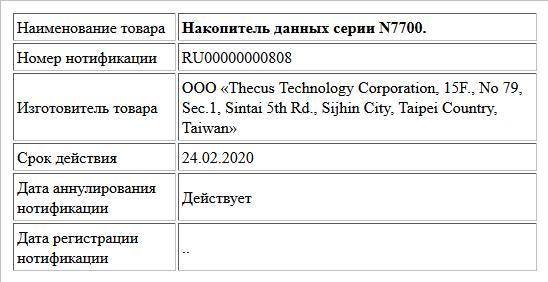 Накопитель данных серии N7700.