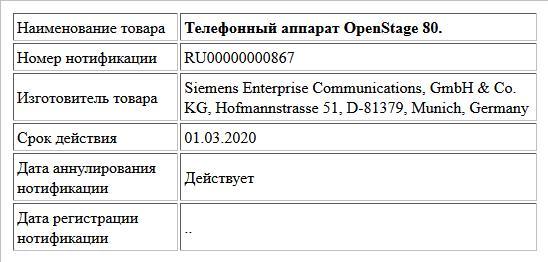 Телефонный аппарат OpenStage 80.