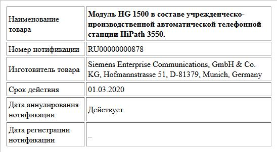Модуль HG 1500 в составе учрежденческо-производственной автоматической телефонной станции HiPath 3550.