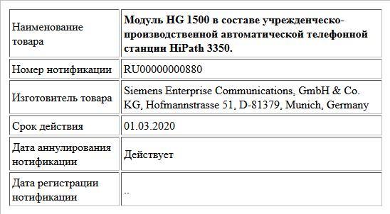 Модуль HG 1500 в составе учрежденческо-производственной автоматической телефонной станции HiPath 3350.