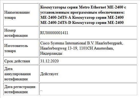 Коммутаторы серии Metro Ethernet ME-2400 с установленным программным обеспечением: ME-2400-24TS-A Коммутатор серии ME-2400 ME-2400-24TS-D Коммутатор серии ME-2400