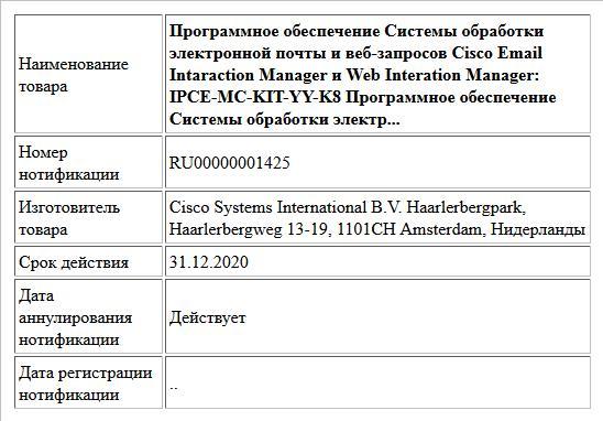 Программное обеспечение Системы обработки электронной почты и веб-запросов Cisco Email Intaraction Manager и Web Interation Manager: IPCE-MC-KIT-YY-K8 Программное обеспечение Системы обработки электр...