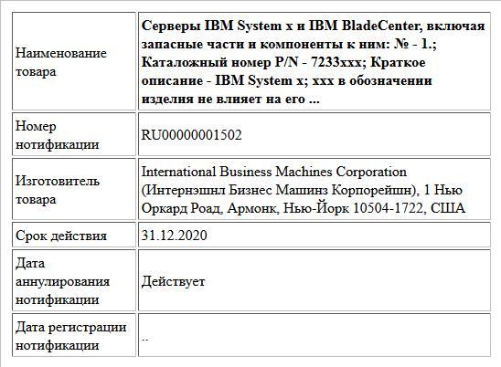 Серверы IBM System x и IBM BladeCenter, включая запасные части и компоненты к ним: № - 1.; Каталожный номер P/N - 7233xxx; Краткое описание - IBM System x; xxx в обозначении изделия  не влияет на его ...