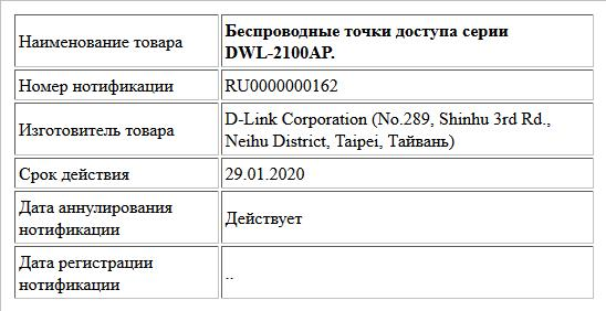Беспроводные точки доступа серии DWL-2100AP
