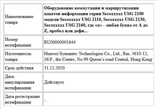 Оборудование коммутации и маршрутизации пакетов информации серии Secoххххх USG 2100 модели Secoххххх USG 2110, Secoххххх USG 2130, Secoххххх USG 2160,  где «х» - любая буква от A до Z, пробел или дефи...