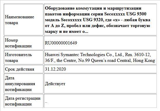 Оборудование коммутации и маршрутизации пакетов информации серии Secoххххх USG 9300 модель Secoххххх USG 9320, где «х» - любая буква от A до Z, пробел или дефис, обозначает торговую марку и не имеет о...