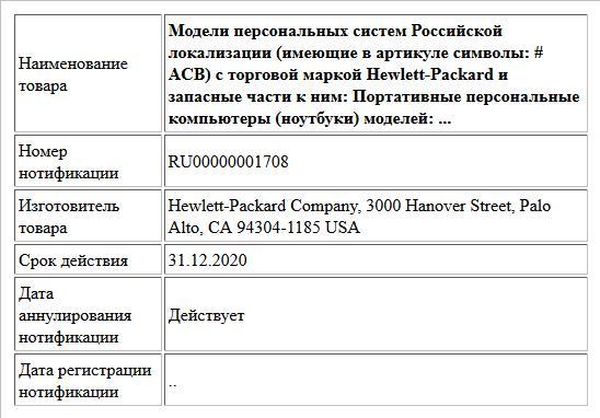 Модели персональных систем Российской локализации (имеющие в артикуле символы: # ACB) с торговой маркой Hewlett-Packard и запасные части к ним: Портативные персональные компьютеры (ноутбуки) моделей: ...