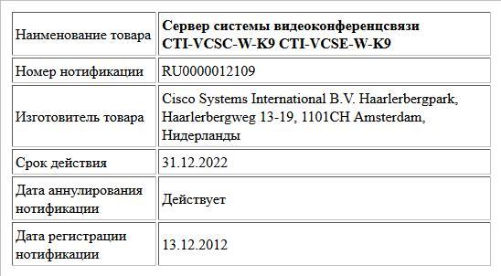 Сервер системы видеоконференцсвязи CTI-VCSC-W-K9 CTI-VCSE-W-K9