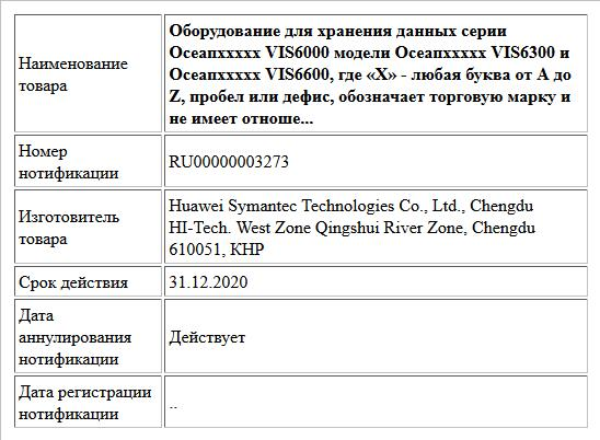 Оборудование для хранения данных серии Осеапххххх VIS6000 модели Осеапххххх VIS6300 и Осеапххххх VIS6600, где «X» - любая буква от А до Z, пробел или дефис, обозначает торговую марку и не имеет отноше...