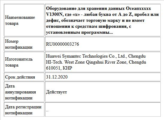 Оборудование для хранения данных Осеапххххх V1300N, где «х» - любая буква от А до Z, пробел или дефис, обозначает торговую марку и не имеет отношения к средствам шифрования, с установленным программны...