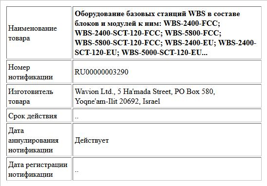 Оборудование базовых станций WBS в составе блоков и модулей к ним:  WBS-2400-FCC; WBS-2400-SCT-120-FCC; WBS-5800-FCC; WBS-5800-SCT-120-FCC; WBS-2400-EU; WBS-2400-SCT-120-EU; WBS-5000-SCT-120-EU...