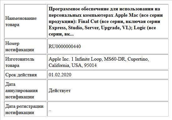 Программное обеспечение для использования на персональных компьютерах Apple Mac (все серии продукции): Final Cut (все серии, включая серии Express, Studio, Server, Upgrade, VL); Logic (все серии, вк...