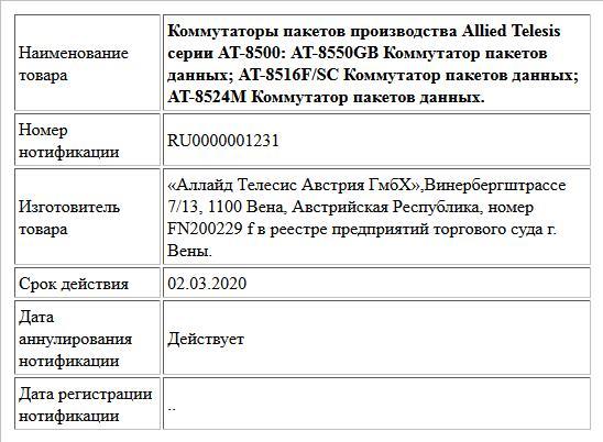 Коммутаторы пакетов производства Allied Telesis серии AT-8500: AT-8550GB Коммутатор пакетов данных; AT-8516F/SC Коммутатор пакетов данных; AT-8524M Коммутатор пакетов данных.
