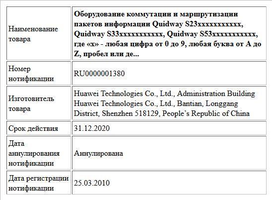 Оборудование коммутации и маршрутизации пакетов информации QuidwayS23ххххххххххх, QuidwayS33ххххххххххх, QuidwayS53ххххххххххх, где «х» - любая цифра от 0 до 9, любая буква от A до Z, пробел или де...