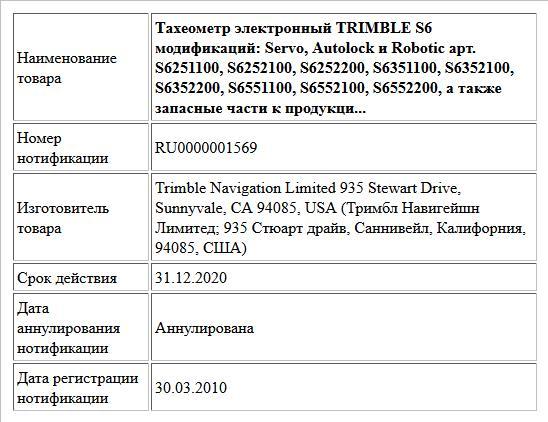 Тахеометр электронный TRIMBLE S6 модификаций: Servo, Autolock и Robotic арт. S6251100, S6252100, S6252200, S6351100, S6352100, S6352200, S6551100, S6552100, S6552200, а также запасные части к продукци...