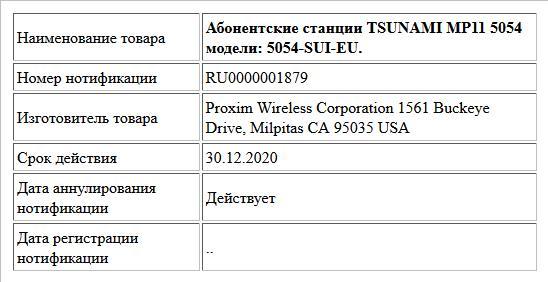 Абонентские станции TSUNAMI MP11 5054 модели: 5054-SUI-EU.