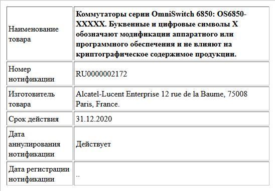 Коммутаторы серии OmniSwitch 6850: OS6850-XXXXX. Буквенные и цифровые символы Х обозначают модификации аппаратного или программного обеспечения и не влияют на криптографическое содержимое продукции.