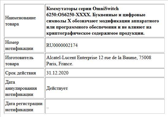 Коммутаторы серии OmniSwitch 6250:OS6250-XXXX. Буквенные и цифровые символы Х обозначают модификации аппаратного или программного обеспечения и не влияют на криптографическое содержимое продукции.