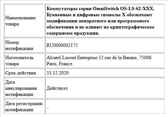 Коммутаторы серии OmniSwitch OS-LS-62-XXX. Буквенные и цифровые символы Х обозначают модификации аппаратного или программного обеспечения и не влияют на криптографическое содержимое продукции.