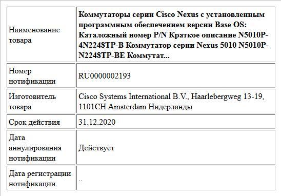 Коммутаторы серии Cisco Nexus с установленным программным обеспечением версии Base OS: Каталожный номер P/N Краткое описание N5010P-4N2248TP-B Коммутатор серии Nexus 5010 N5010P-N2248TP-BE Коммутат...
