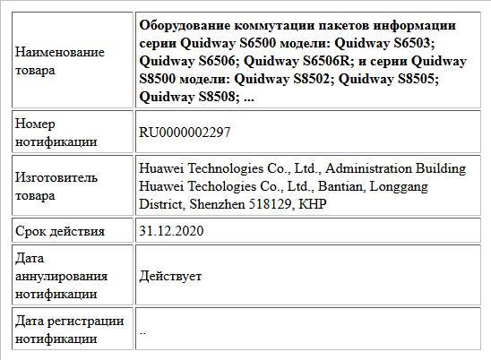 Оборудование коммутации пакетов информации серии Quidway S6500 модели: Quidway S6503; Quidway S6506; Quidway S6506R; и серии Quidway S8500 модели: Quidway S8502; Quidway S8505; Quidway S8508; ...